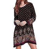 ドレス 女性、三番目の店 女 コットン ソフト ロングスリーブ 長袖 パーティー サンドレス Boho 花 短い ミニドレス スカート