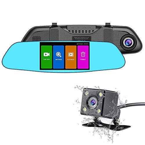 NexGadget ドライブレコーダー 4.5インチルームミラー型 タッチスクリーンドラレコ 1080P Full HD高画質 150広視野角 2カメラ搭載 常時録画 HDR Gセンサー搭載 (ブルー)