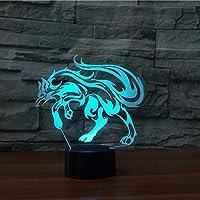 Llhyd狡猾のキツネ3D LED錯覚ランプナイトライトテーブルランプ雰囲気の装飾家の装飾のための子供の贈り物や他の人のための創造的な贈り物
