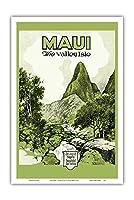 マウイ島、ハワイ - バレー島 - Iao 谷 - ビンテージなハワイの旅行パンフレット c.1929 - アートポスター - 31cm x 46cm