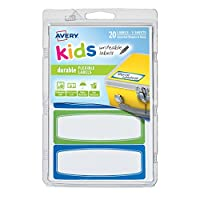 Avery 1.25 x 3.5 Inches Durable Labels for Kids Gear, Assorted, Pack of 20 (41413) by Avery [並行輸入品]