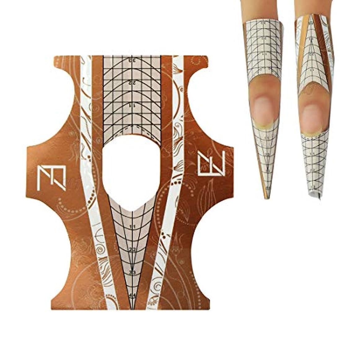 ピュー製造マントHoney Joy 100 個 プロフェッショナル デュアル ユース ネイル フォーム ロンバス & スティレット チップ UV ジェル アクリル ネイル エクステンション ネイル アート ツール 自己 接着剤 ゴールデン, HJ-NTF035