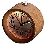 Biutee 古風・円型目覚まし時計 旅行目覚まし 実木製 インテリア置き時計 静音タイプ  ナイトライト付き
