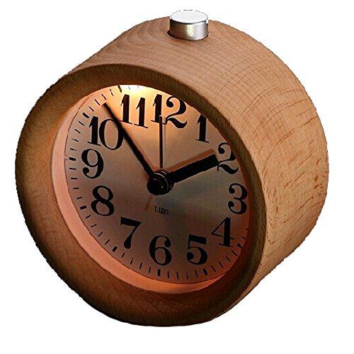 (ビュティー)Biutee 古風・円型目覚まし時計 旅行目覚まし 実木製 インテリア置き時計 静音タイプ  ナイトライト付き