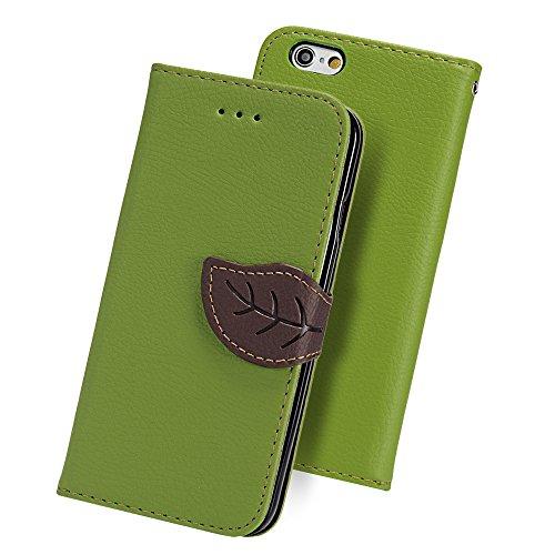 iPhone6s ケース iPhone6ケース YOKIRIN? 高級PUレザー ケース 手帳型 全面保護ケース カード収納ホルダー付き 横置きスタンド機能付き かわいい葉のボタン マグネット式 スマホケース ストラップ付き グリーン