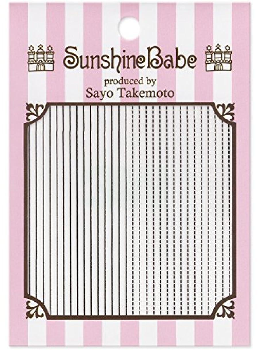 左コーヒーフローティングサンシャインベビー ジェルネイル 武本小夜のネイルシール Sayo Style ラインステッチ ブラック