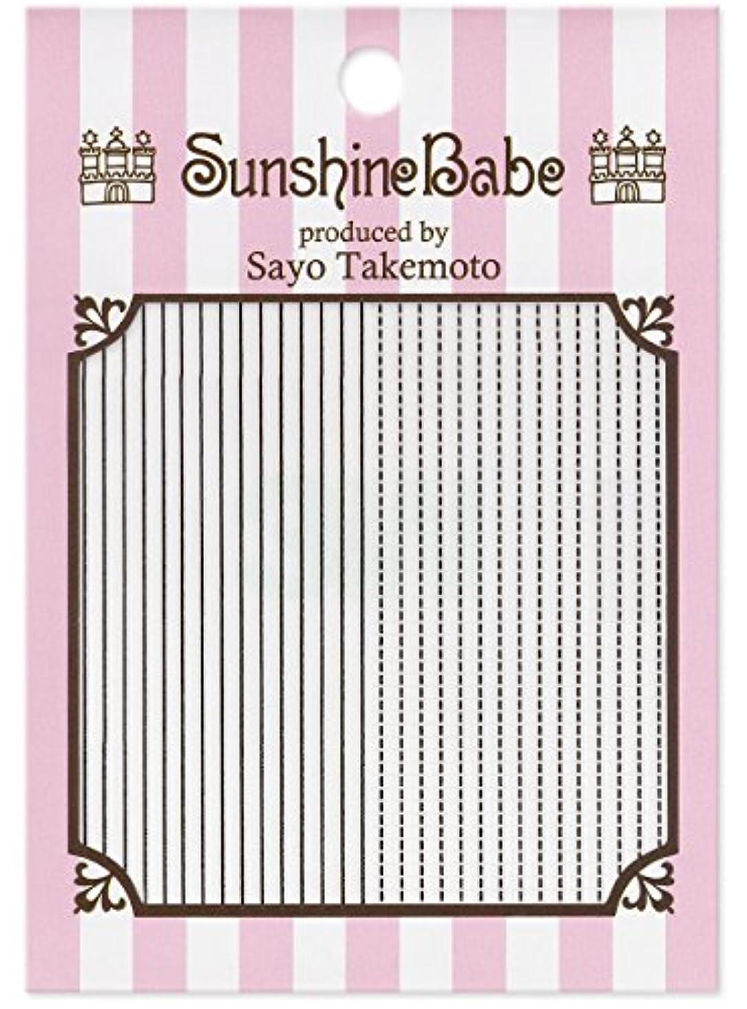 キャップ中に忘れられないサンシャインベビー ジェルネイル 武本小夜のネイルシール Sayo Style ラインステッチ ブラック