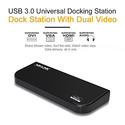 『Wavlink USB 3.0 ユニバーサル・ドッキングステーショ・デュアル ビデオモニタ・ディスプレイ 最高解像度2048x1152のDVI & HDMI & VGA ポート、ギガビット・イーサネットポート、オーディオ、6つのUSBポートはラップトップ、ウルトラブック、PCなどに対応 USB 3.0 ポートx2、USB 2.0 ポートx4、PSE認定されたAC12V2A 電源アダプター付』の3枚目の画像