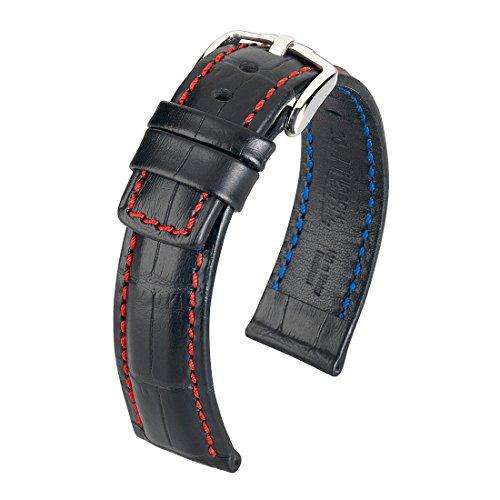 [HIRSCH]ヒルシュ 腕時計 革 ベルト グランドデューク 4.ブルー 24mm 22mm 尾錠色:シルバー
