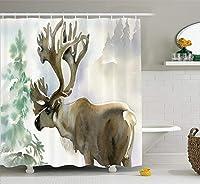 クリスマス&新年おめでとう シャワーカーテン バスカーテン Shower Curtain お風呂 165x180cm
