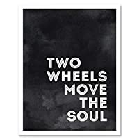 Bicycle Quote Two Wheels Move Soul Black Texture Art Print Framed Poster Wall Decor 12X16 Inch 自転車見積もりポスター壁デコ