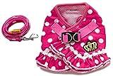 Rant Bell フリル ドット柄 ハーネス リード セット クラウン刺繍 (S, ピンク)