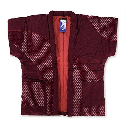 矢絣パッチ 婦人やっこ 袖なし半天 7610赤 はんてん 半纏 どてら ポンチョ 綿絣(赤)久留米手づくり