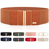 Women's Elasticated Waistband Belt with Gold Framed Buckles Suitable for dress tunic blouse Formal Attires or Casual Wear Fully Adjustable and Stretchable
