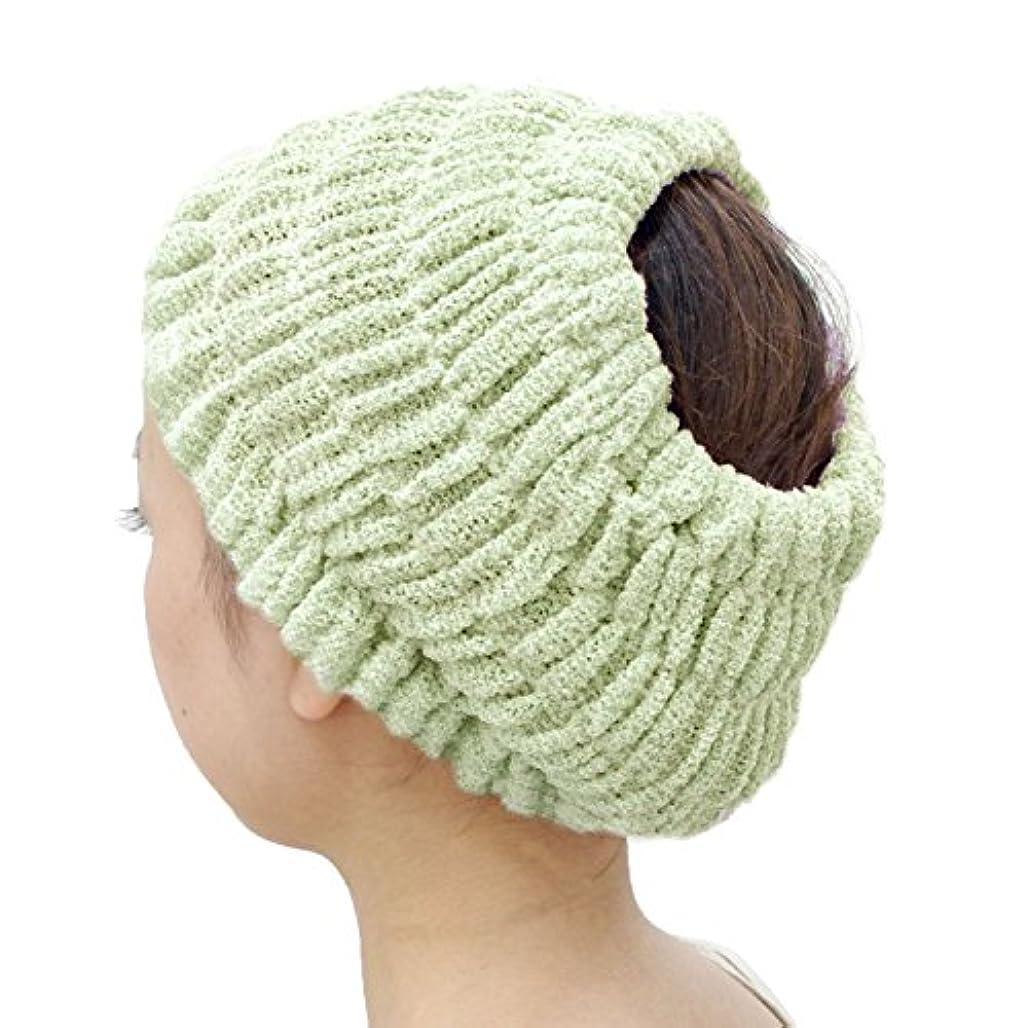 オカ(OKA) プリスベイス エピ 乾きやすいバスヘアターバン グリーン フリーサイズ PLYS base epi(ターバン ヘアバンド 髪留め)