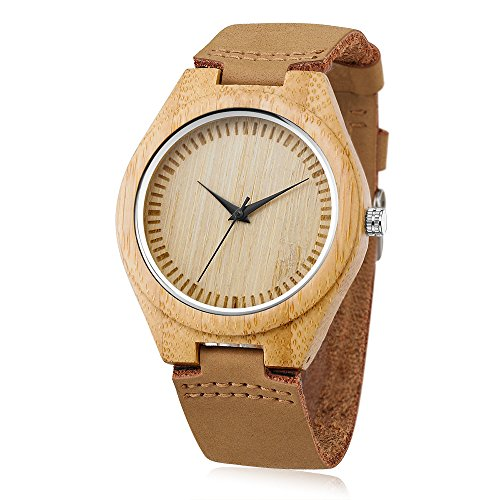 DWG 竹製腕時計 ホワイトデー ウッドウォッチ レザーベルト オシャレ シンプル 男女兼用 贈り物
