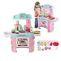 Roxie デラックスおもちゃキッチンプレイセット – Love and Care 子供部屋遊びセット ライト&サウンド – おもちゃのフィーダー – キッチン用品、高品質の幼児用おもちゃのキッチンプレイセット