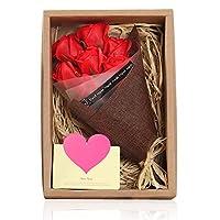 HomLead ソープフラワー 枯れない フレグランス 母へのギフト 誕生日 結婚祝い バレンタインデー ホワイトデー 結婚記日恋人 友人にプレゼント 昇進 転居などに最適 メッセージカード付き 花束-レッド