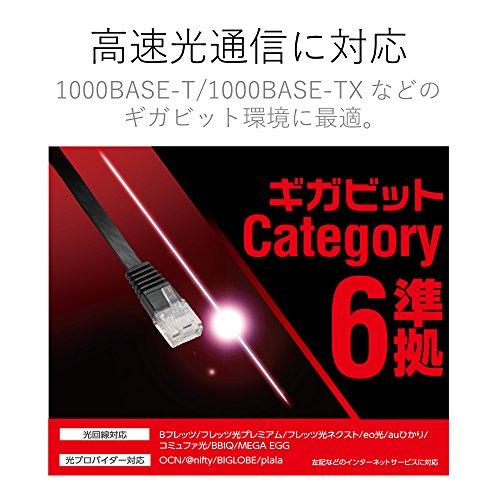 ELECOM LANケーブル CAT6準拠 Gigabit スーパーフラット 5m ブラック 【PlayStation 4 対応】 LD-GF/BK5