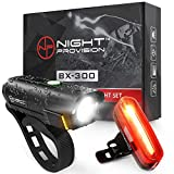 BX-300 USB Rechargeable LED Bike Light Set Front and Back Cycling Safety Lights Best Headlight with New DUO-120 USB Tail Light for Adults Kids Men Women