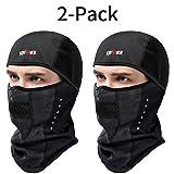 KINGBIKE バラクラバ スキーフェイスマスク 防風 防水 暖かいフード 男女兼用 normal size ブラック TSZ000383*2