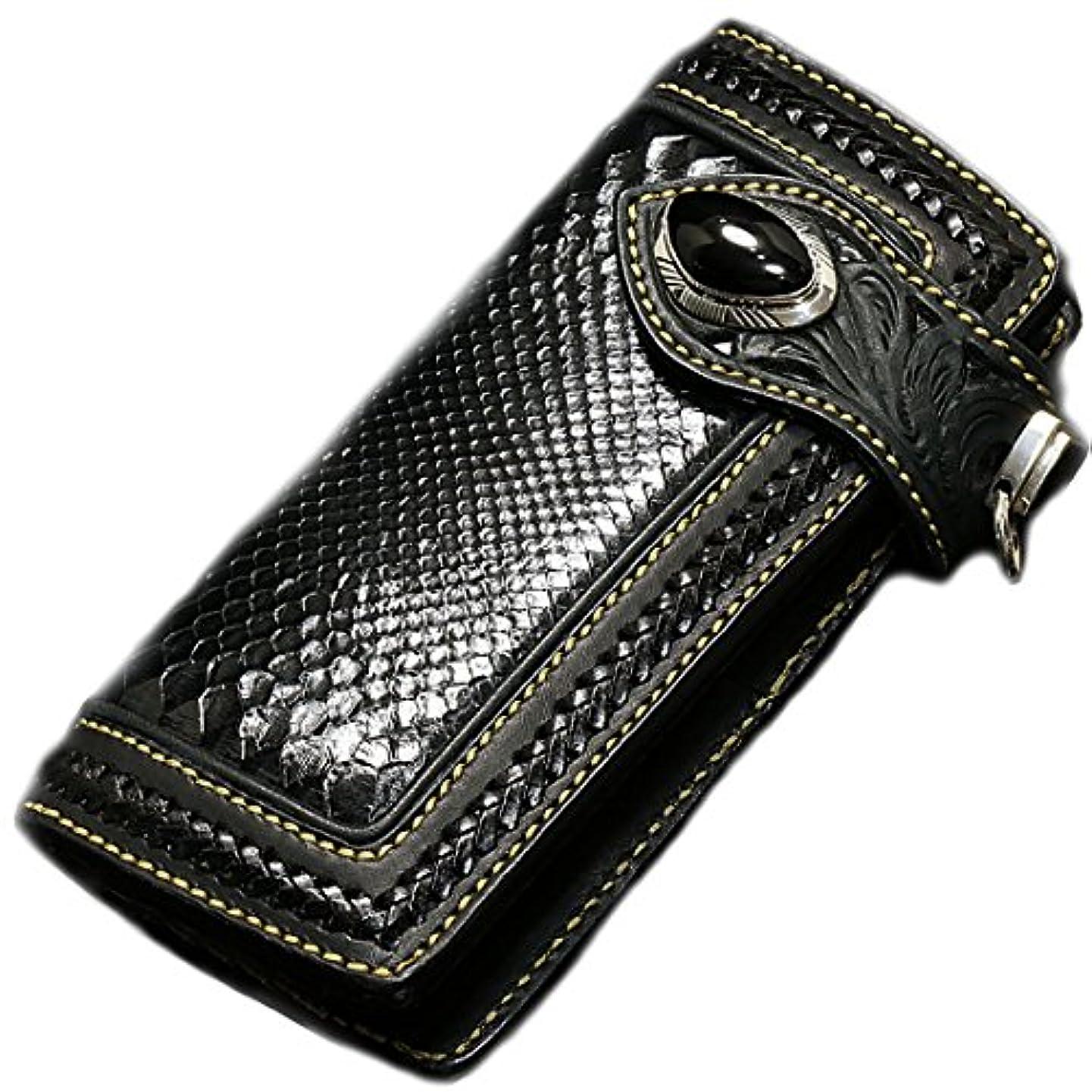 不適恐れ枝メンズ 財布 バイカーズウォレット レザーウォレット 本革 レザー 3重装飾 ブラック パイソン 蛇 透かし彫り カービング パイソン 黒