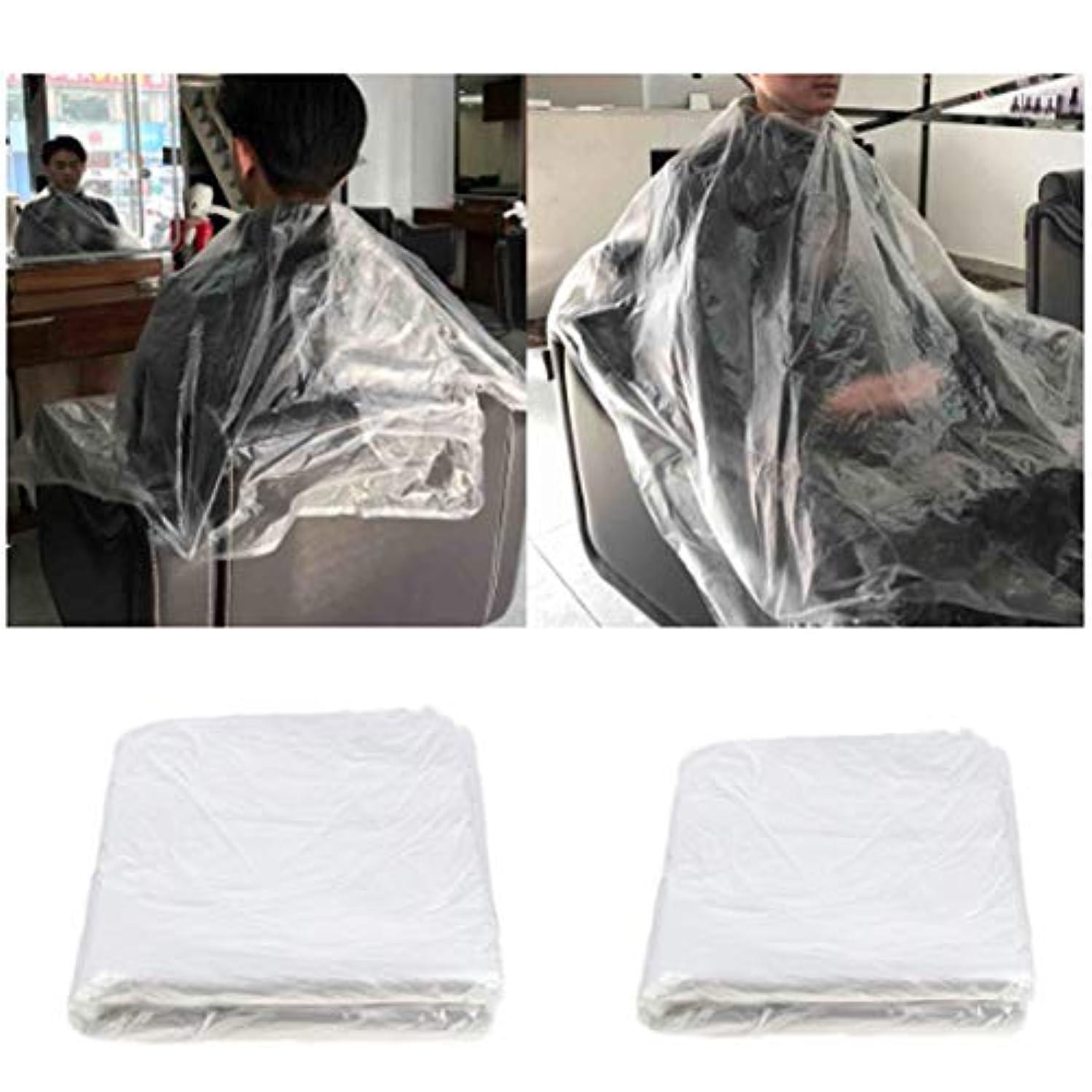 マイク条件付き認める150 x使い捨てケープヘアサロンショールプラスチック防水ヘアトリミングツール110 x 150 cm理髪店または家庭用
