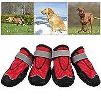 お安全性 犬靴 犬用 ドッグブーツ ペット用 歩行 滑り止めゴム底 犬用靴 滑り止め ドッグブーツ 肉球保護 ソフト 安全性 夏 保護毎日 4個セット 履きやすい (Size : 5#)