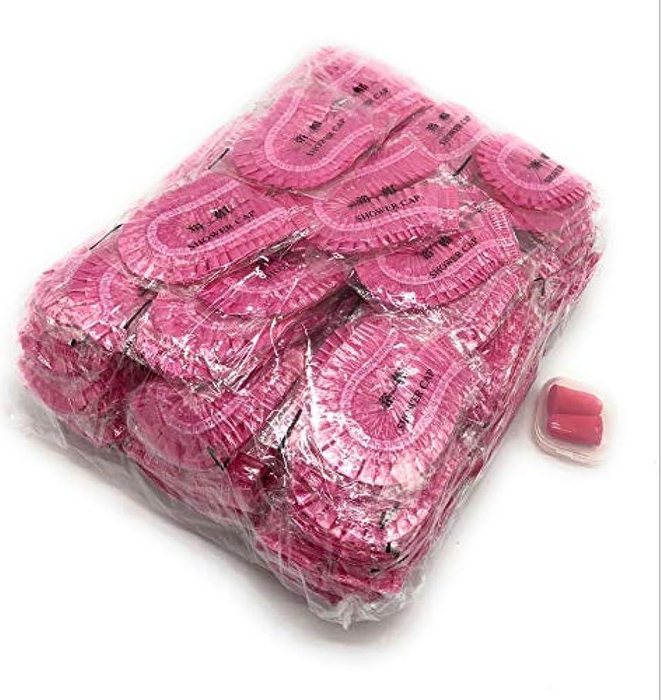 くつろぐ発疹単なるMaltose 防水シャワーキャップ 100枚セット 個別包装 使い捨て お風呂帽子 業務用 透明 耳栓付き