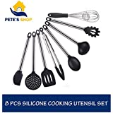 Pete's Shop Silicone Kitchen Utensil Set - 8 Piece Black Silicone & Stainless Steel Set - Non-Scratch & Heat Resistant Turner, Spaghetti Server, Skimmer, Spoon, Spatula, Soup Ladle, Tongs & Whisk