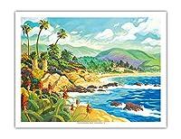ラグナビーチとの愛 - カリフォルニア - シーサイドオーシャンビュー - オリジナルの水彩画からのもの によって作成された ロビン アルトマン - アートポスター - 51cm x 66cm