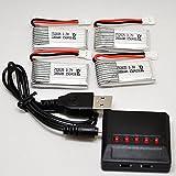 Hubsan JJRC 3.7V 380mah Lipoバッテリー 4個+マルチ充電器セット(5台同時充電) [並行輸入品]