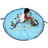 おもちゃストレージバッグ、60インチ折りたたみ式子供の遊びマット床アクティビティマット大床Playbagおもちゃオーガナイザークイックpouch-perfectの保存、持ち運びに簡単、頑丈な WJSND-TL