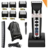 Professional Electric Hair Clippers For Men, Best Hair Trimmer Quiet Cordless For Boy & Kids, Personal Beard Trimmers Ceramic Hair Cutting Cape Gift Set, Household USB LED Display Rechargeable Haircut Kit