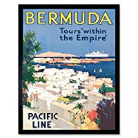 Travel Bermuda Tours Empire Pacific Line Coast Art Print Framed Poster Wall Decor 12X16 Inch 旅行帝国パシフィック海岸ポスター壁デコ