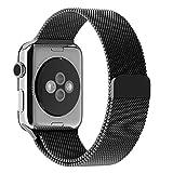 Apple Watchベルト, 特徴的なマグネットクラスプ設計,JETech® 42mmステンレス留め金製ベルト Metal Clasp for Apple Watch All Models 42mm (ブラック)