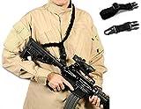 US TACTICAL 銃を選ばない ワンポイント 軽量 CORDURA バンジーコード QD スリング P90 AK M4 SCAR HK416 MP5 最適 三色 (ブラック)