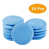 CARCAREZ 24pcs Microfiber Applicator Pad for Car Waxing, Blue