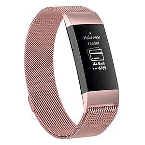 XIHAMA For Fitbit Charge3 バンド 磁気ブレスレット ミラノループ ステンレススチール製 2サイズ 交換リスト マグネット式 調整でき (Small, ローズピンク)