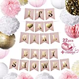 Baby Shower Decorations Kit For Girl - ITS A GIRL - Cute Pink & Gold Banner - All In One Decoration Bundle For Party & Nursery Room - Easy To Assemble Supplies & With Longer Str [並行輸入品]