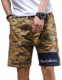 短パン 半ズボン メンズ 大きいサイズ ハーフパンツ 5分丈 夏 迷彩柄 調整紐 ショートパンツ カジュアル ゆったり ストレッチ シンプル 通気性 部屋着 お出かけ ビーチ 刺繍 カーキ グレー グリーン M-4XL