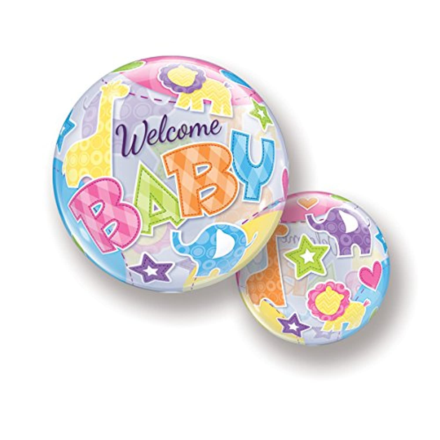 Quarubber 22 Inch Single Bubble Balloon - Welcome Baby Animal Patterns
