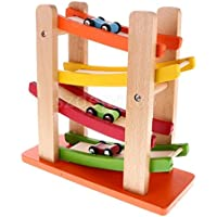 4層Wooden Ramp Racing Set Corlorful木製玩具Developmental Baby Toys