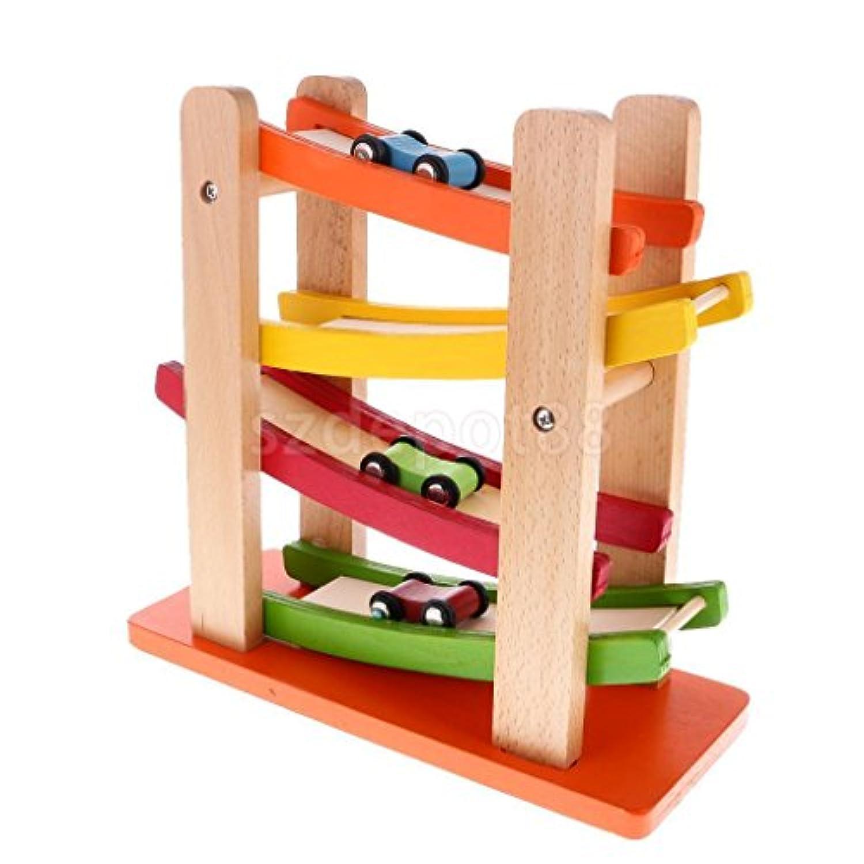 4層Wooden Ramp Racing Set Corlorful木製玩具Developmental Baby Toys