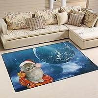 folpply Galaxy Outer Space with Catエリアラグ、ノンスリップポリエステルフロアマットインドア/アウトドア/フロントドア/バスルームマットホーム装飾、1.7X 2.6' 31 x 20 inch