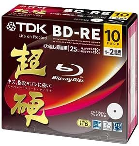 TDK 録画用ブルーレイディスク 超硬シリーズ BD-RE 25GB 1-2倍速 ホワイトワイドプリンタブル 10枚パック 5mmスリムケース BEV25HCPWA10A