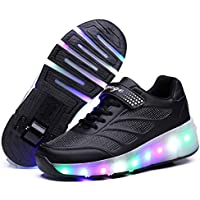Kids Led Roller Shoes Unisex Pulley Shoes USB Charge Led Shoes Push Button Roller Skate Shoes Single Wheel Roller Skate Shoes Fashion Sneakers Removable for Boys Girls