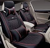 (ファーストクラス)FirstClass 四季用 カーシートカバー フロント リアシートカバー 車シート保護 スポンジ&レザー製 通気性に富む 快適 スムーズ 5シート車汎用 ボーラ ジェッタ オクティバ フルセット 10枚 ブラック XLサイズ