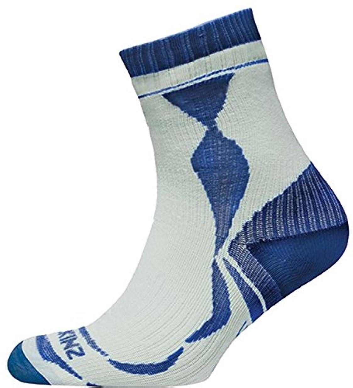 調整する留まる運賃SealSkinz(シールスキンズ) 完全防水 アンクルソックス (薄手) Thin Ankle Length Socks ホワイト/アクア 1111402 144