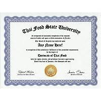 Thai Food Degree: Custom Gag Diploma Doctorate Certificate (Funny Customized Joke Gift - Novelty Item) by GD Novelty Items [並行輸入品]